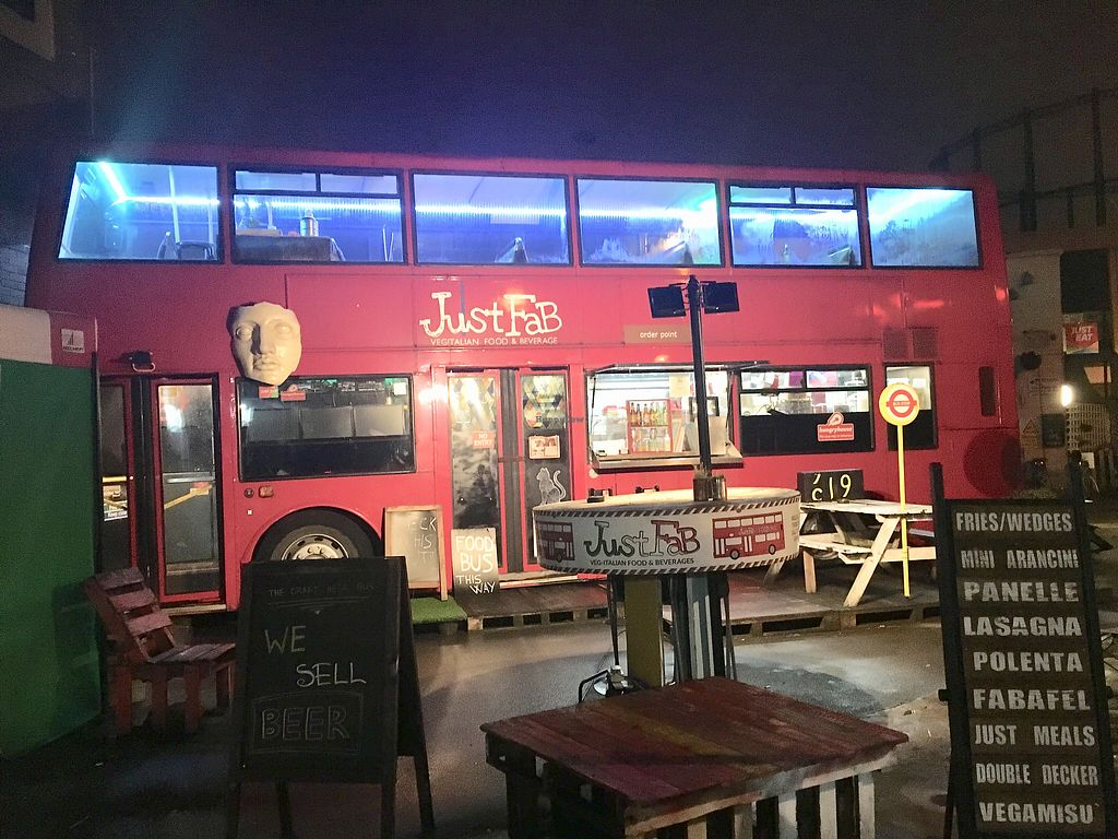 "Photo of Just FaB - Food Bus  by <a href=""/members/profile/Kleeblatt"">Kleeblatt</a> <br/>Double Decker Bus Converted into Vegan Cafe <br/> January 20, 2018  - <a href='/contact/abuse/image/57709/349068'>Report</a>"