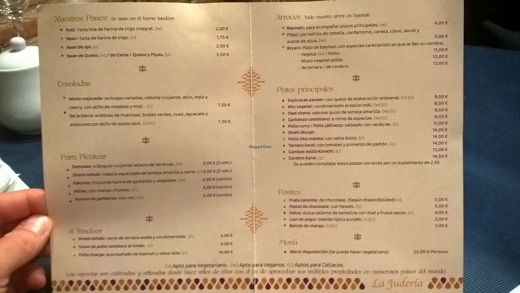 """Photo of La Juderia  by <a href=""""/members/profile/arya00"""">arya00</a> <br/>The menu (sorry quality isn't the greatest) <br/> April 13, 2016  - <a href='/contact/abuse/image/57799/144357'>Report</a>"""