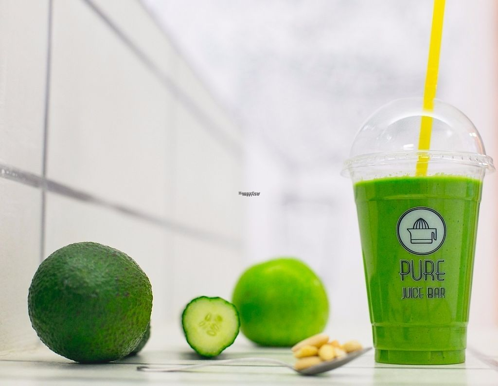 """Photo of PURE Juice Bar  by <a href=""""/members/profile/monthanos"""">monthanos</a> <br/>Clear skin elixir - cucumber, avocado, spinach, almonds, ginger, green apple, aloe vera <br/> November 30, 2016  - <a href='/contact/abuse/image/57816/195948'>Report</a>"""