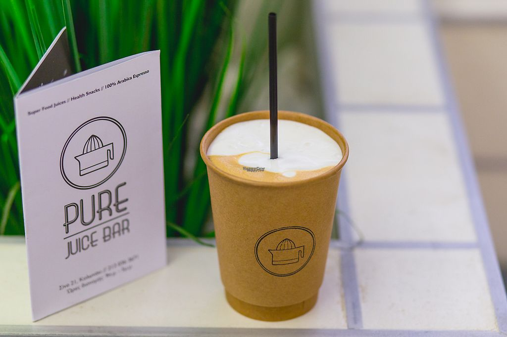 """Photo of PURE Juice Bar  by <a href=""""/members/profile/monthanos"""">monthanos</a> <br/>100% Espresso Arabica Coffee <br/> November 30, 2016  - <a href='/contact/abuse/image/57816/195954'>Report</a>"""