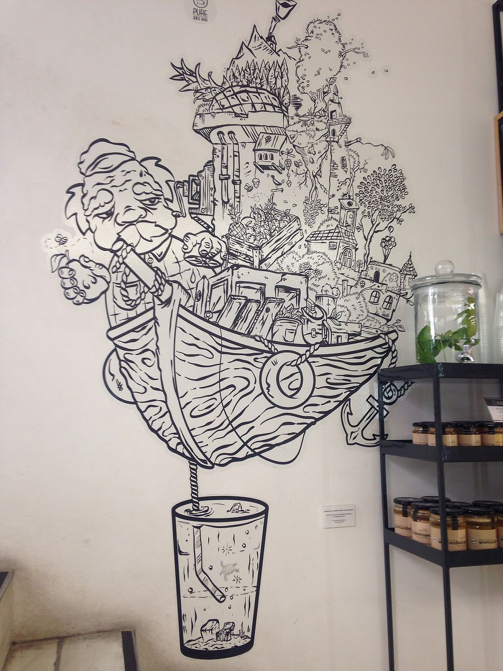 """Photo of PURE Juice Bar  by <a href=""""/members/profile/Yian"""">Yian</a> <br/>Great piece on the wall on the left as you enter  <br/> August 8, 2017  - <a href='/contact/abuse/image/57816/290461'>Report</a>"""