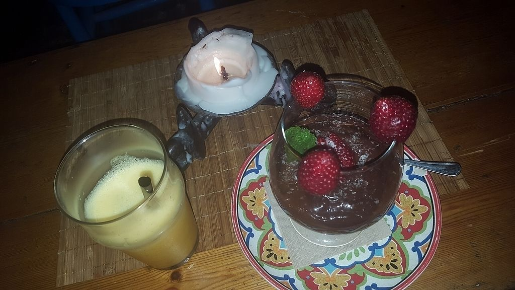 """Photo of Brown Sugar  by <a href=""""/members/profile/Prajna"""">Prajna</a> <br/>Orange and passion fruit juice and the best ever raw vegan chocolate mousse <br/> June 12, 2017  - <a href='/contact/abuse/image/57856/268518'>Report</a>"""