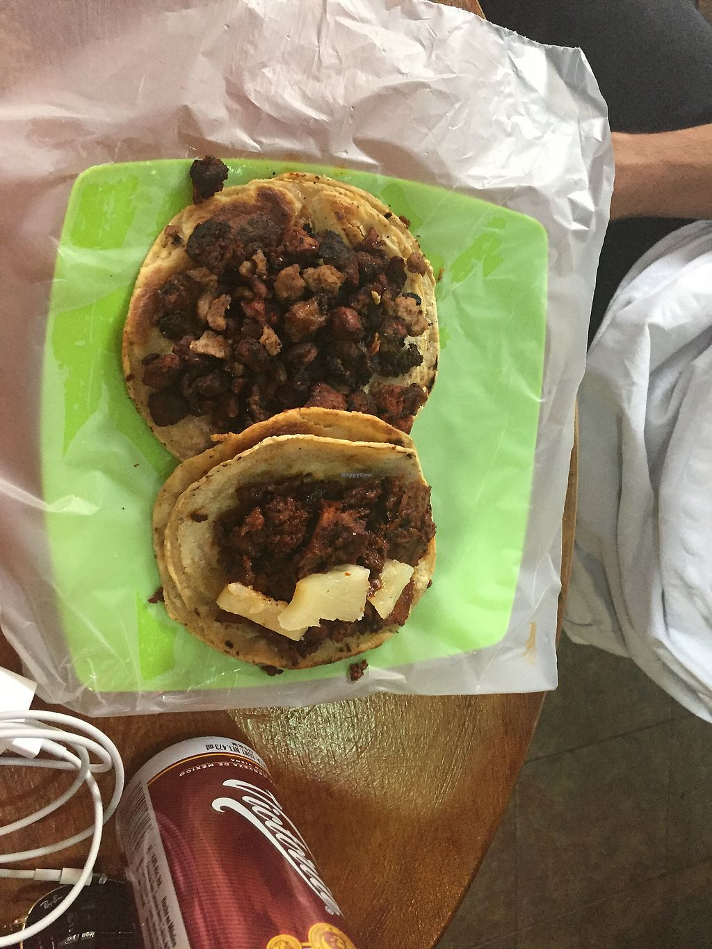 """Photo of Vegan Pa' Cá'  by <a href=""""/members/profile/SinzianaK"""">SinzianaK</a> <br/>Pastor and chorizo tacos <br/> December 22, 2017  - <a href='/contact/abuse/image/57926/338215'>Report</a>"""