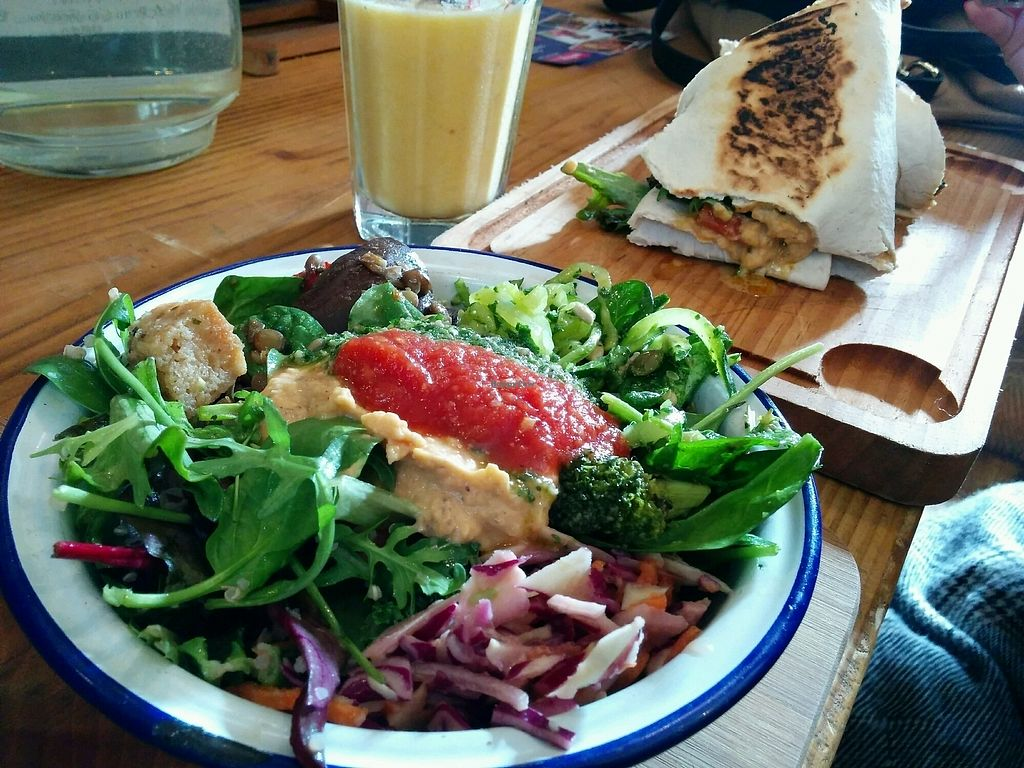 "Photo of Beyond the Kale  by <a href=""/members/profile/jord_aka"">jord_aka</a> <br/>Salad, falafel wrap and smoothie <br/> March 21, 2018  - <a href='/contact/abuse/image/57927/373990'>Report</a>"