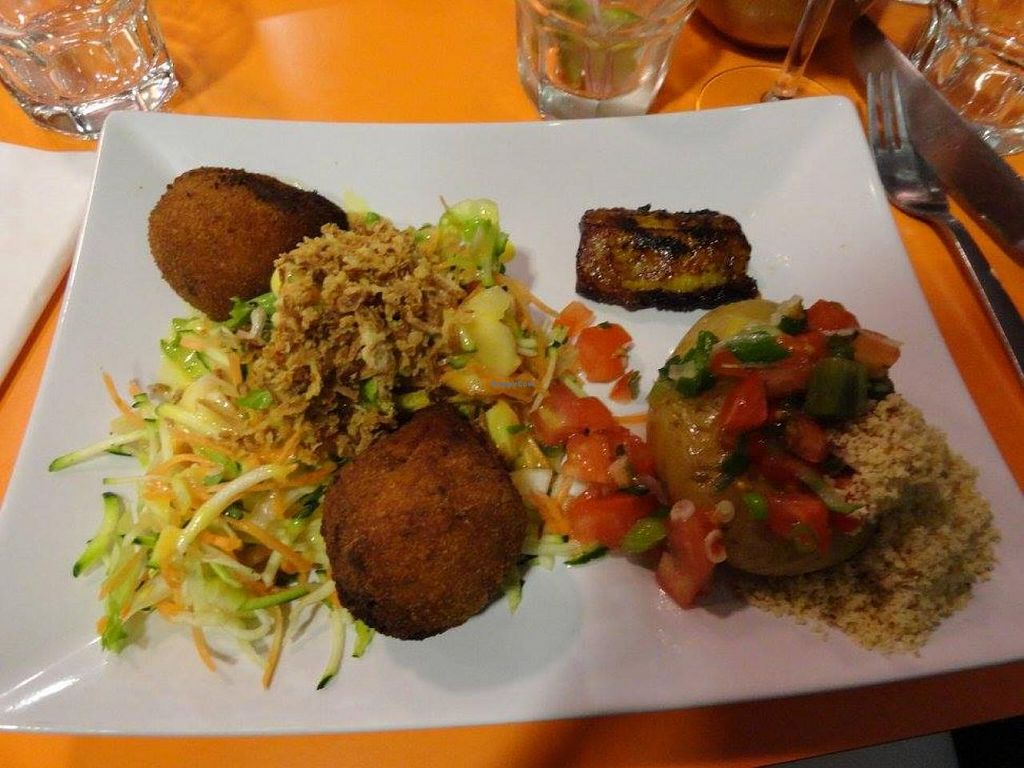 """Photo of So Good Brasil  by <a href=""""/members/profile/JonJon"""">JonJon</a> <br/>Vegan main dish: mashed potato with vegetables and spices, vegetable fritters, fried banana and vegetables <br/> May 5, 2015  - <a href='/contact/abuse/image/57957/101292'>Report</a>"""