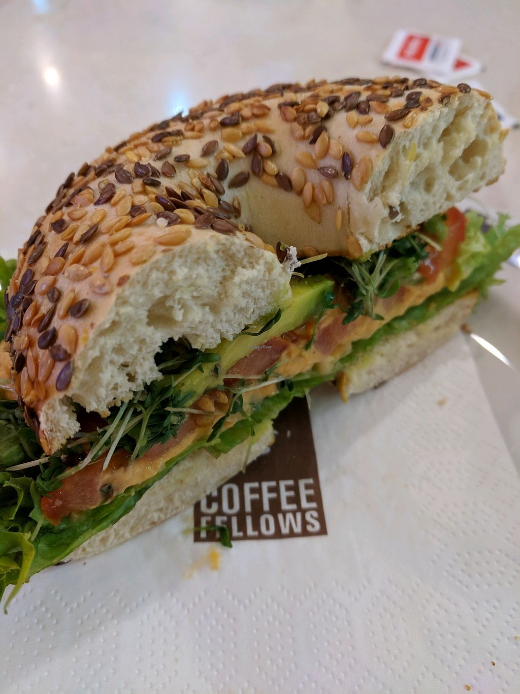 """Photo of Coffee Fellows - Hauptbahnhof  by <a href=""""/members/profile/EmmaSnewin"""">EmmaSnewin</a> <br/>Vegan Bagel <br/> January 10, 2018  - <a href='/contact/abuse/image/57980/345077'>Report</a>"""