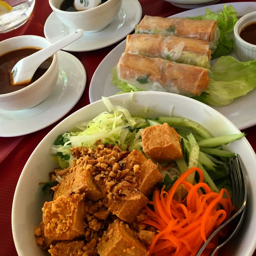 """Photo of West End Garden  by <a href=""""/members/profile/SeitanSeitanSeitan"""">SeitanSeitanSeitan</a> <br/>Vermicelli salad and tofu ricepaper rolls <br/> April 3, 2016  - <a href='/contact/abuse/image/57991/142616'>Report</a>"""