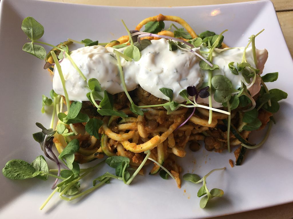 """Photo of Shine Juice Bar and Cafe  by <a href=""""/members/profile/marieroberts"""">marieroberts</a> <br/>Falafels on zucchini noodles and tzatski, need I say more?! <br/> April 5, 2018  - <a href='/contact/abuse/image/58005/381314'>Report</a>"""
