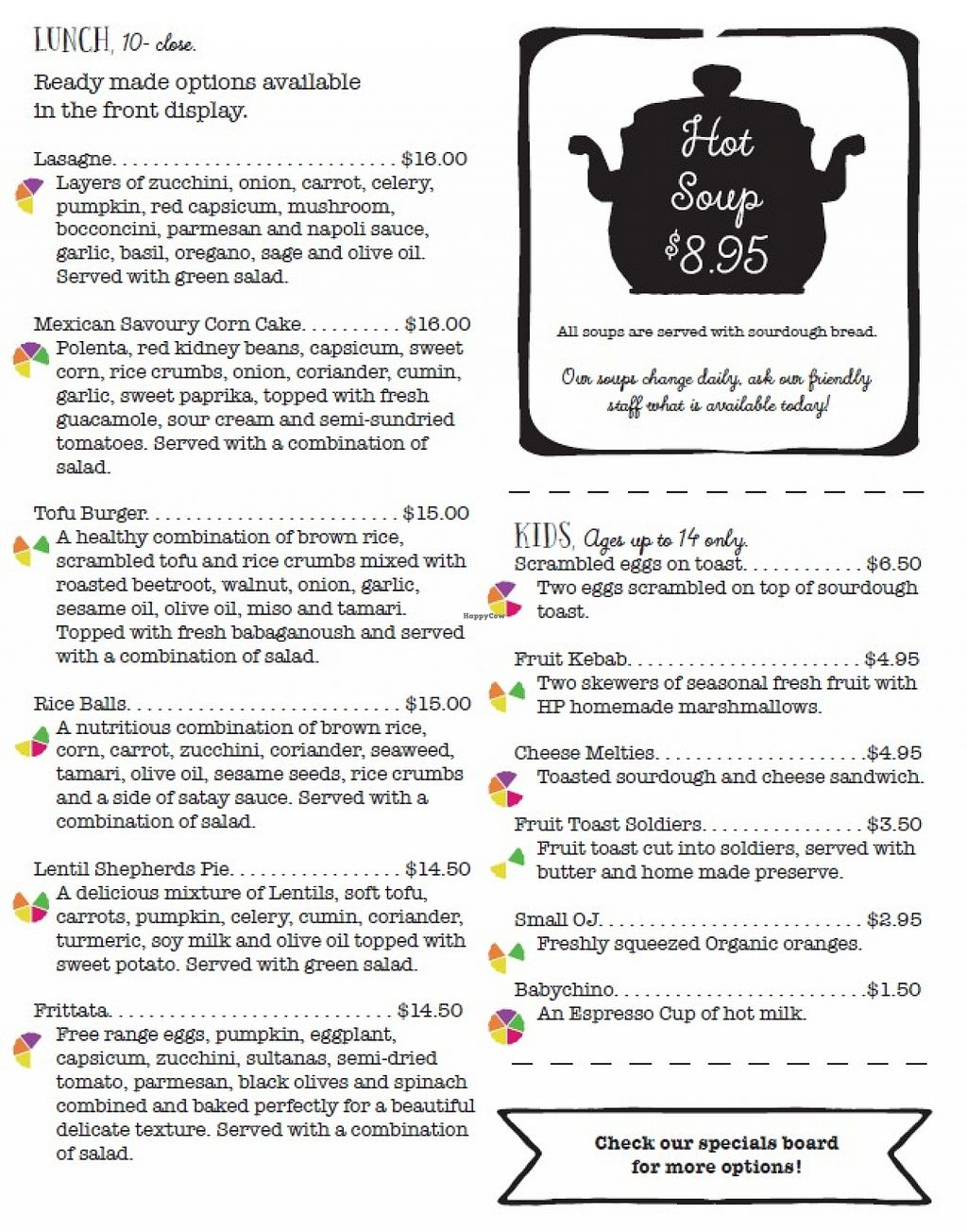 """Photo of Healthy Planet Cafe  by <a href=""""/members/profile/verbosity"""">verbosity</a> <br/>Menu - page 3 <br/> November 2, 2015  - <a href='/contact/abuse/image/58008/123588'>Report</a>"""