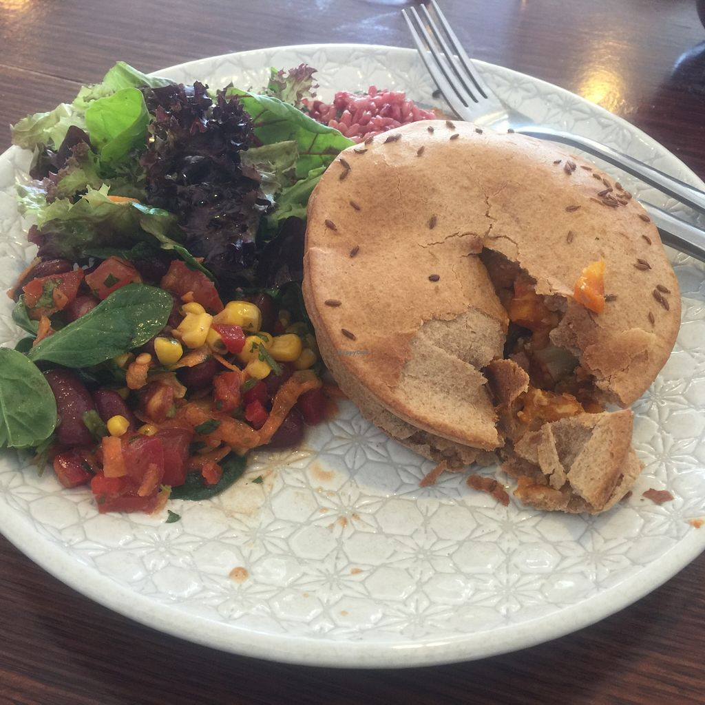 """Photo of Healthy Planet Cafe  by <a href=""""/members/profile/Tiggy"""">Tiggy</a> <br/>Vegani pie and salads - November 2015 <br/> November 6, 2015  - <a href='/contact/abuse/image/58008/124110'>Report</a>"""