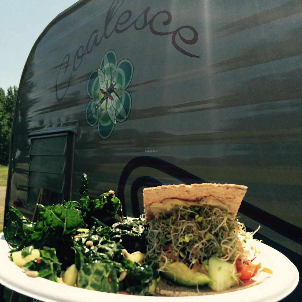 Photo of Coalesce Juicery and Whole Foods Kitchen - Food Cart  by AleiaGreene <br/>Raw sandwich with kale side salad <br/> May 10, 2015  - <a href='/contact/abuse/image/58011/101804'>Report</a>