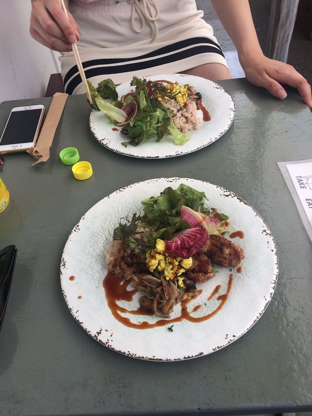 """Photo of Cori Vegan Foodstand  by <a href=""""/members/profile/Nutriella"""">Nutriella</a> <br/>vegan plate with soy nuggets <br/> July 11, 2017  - <a href='/contact/abuse/image/58013/279004'>Report</a>"""
