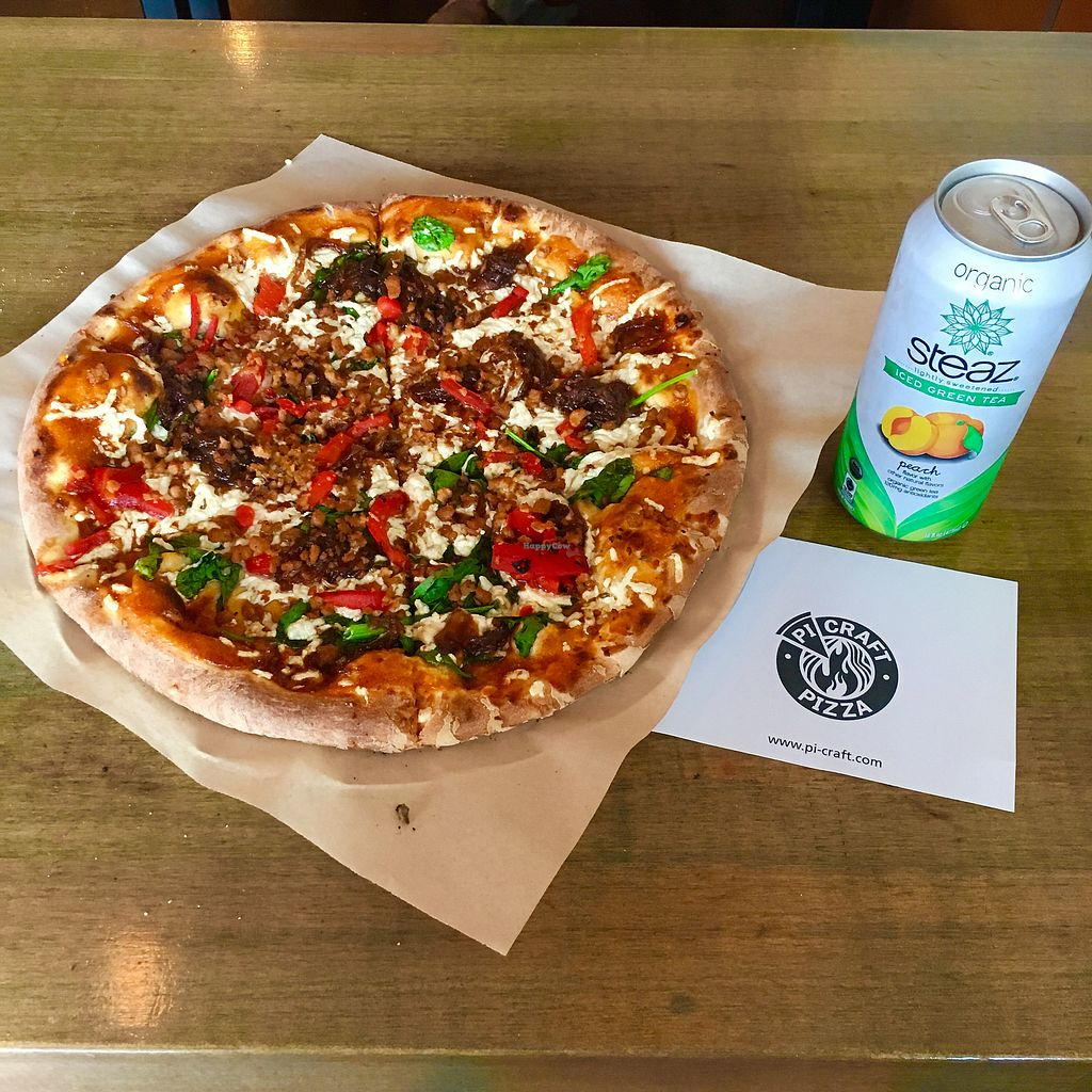"""Photo of Pi Craft Pizza  by <a href=""""/members/profile/apollock"""">apollock</a> <br/>vegan cheese and vegan sausage, BBQ sauce <br/> August 26, 2017  - <a href='/contact/abuse/image/58040/297295'>Report</a>"""