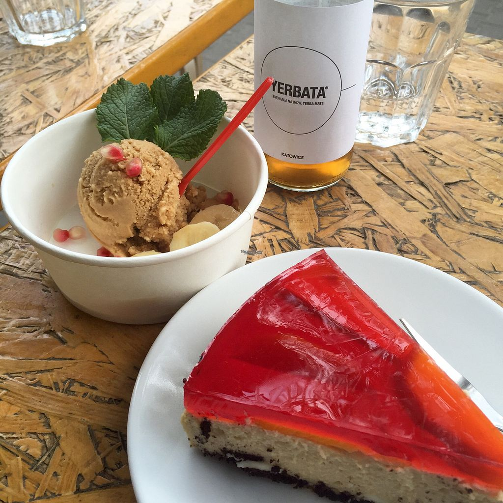 """Photo of Vege Bistro - Polish Vegan Food  by <a href=""""/members/profile/KasiaFraser"""">KasiaFraser</a> <br/>strawberry cheesecake and vegan salted caramel and vanilla ice-cream  <br/> September 11, 2016  - <a href='/contact/abuse/image/58057/175106'>Report</a>"""