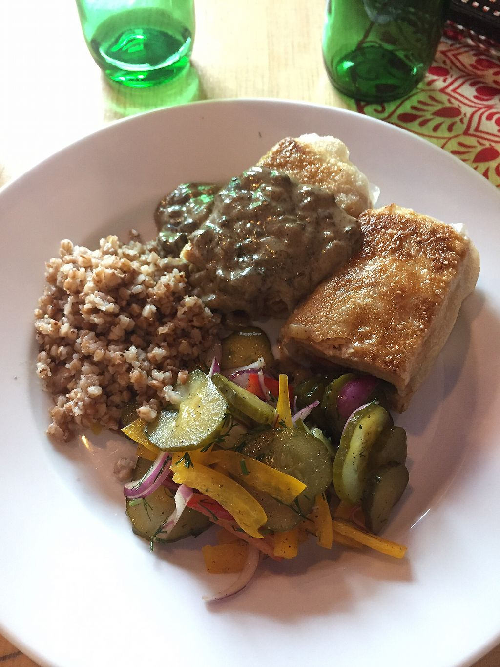"""Photo of Vege Bistro - Polish Vegan Food  by <a href=""""/members/profile/Sophiapalmqvist"""">Sophiapalmqvist</a> <br/>soybean cutlet with grains and mushroom sauce <br/> August 12, 2017  - <a href='/contact/abuse/image/58057/291939'>Report</a>"""