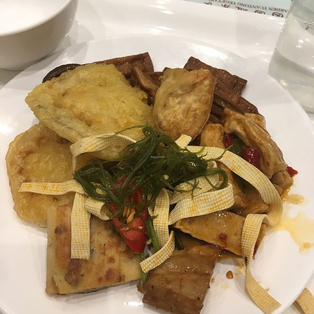 "Photo of Yuan Tong Vegetarian - Plum Garden  by <a href=""/members/profile/HarlieRush"">HarlieRush</a> <br/>All the different dried and fried tofu!  <br/> March 2, 2018  - <a href='/contact/abuse/image/58096/365566'>Report</a>"