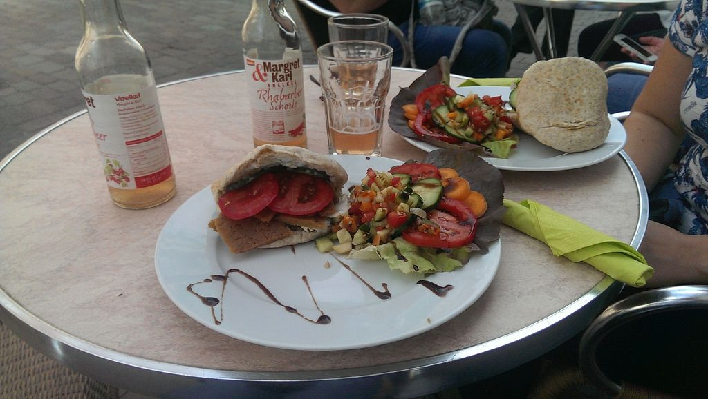 """Photo of Veg at Table  by <a href=""""/members/profile/rogaux"""">rogaux</a> <br/>seitan burger w/ salad <br/> August 26, 2015  - <a href='/contact/abuse/image/58105/115280'>Report</a>"""