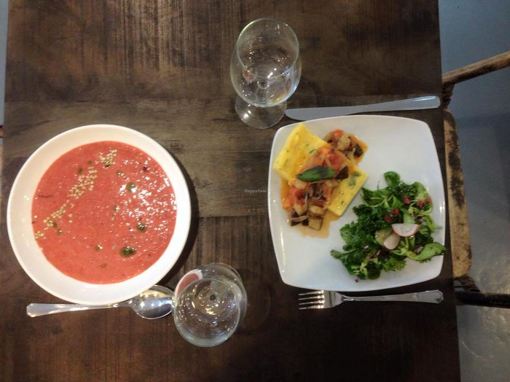"""Photo of CLOSED: Botanique  by <a href=""""/members/profile/viktorbeat"""">viktorbeat</a> <br/>Delicious Spanish 'Gazpacho' and a Corn 'steak' with organic salad. Healthy, vegan, CHEAP and organic <br/> May 10, 2015  - <a href='/contact/abuse/image/58150/101769'>Report</a>"""
