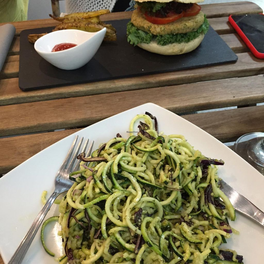 """Photo of CLOSED: Botanique  by <a href=""""/members/profile/Indidee"""">Indidee</a> <br/>non-grain spaghetti and veggie burger <br/> July 11, 2015  - <a href='/contact/abuse/image/58150/108861'>Report</a>"""
