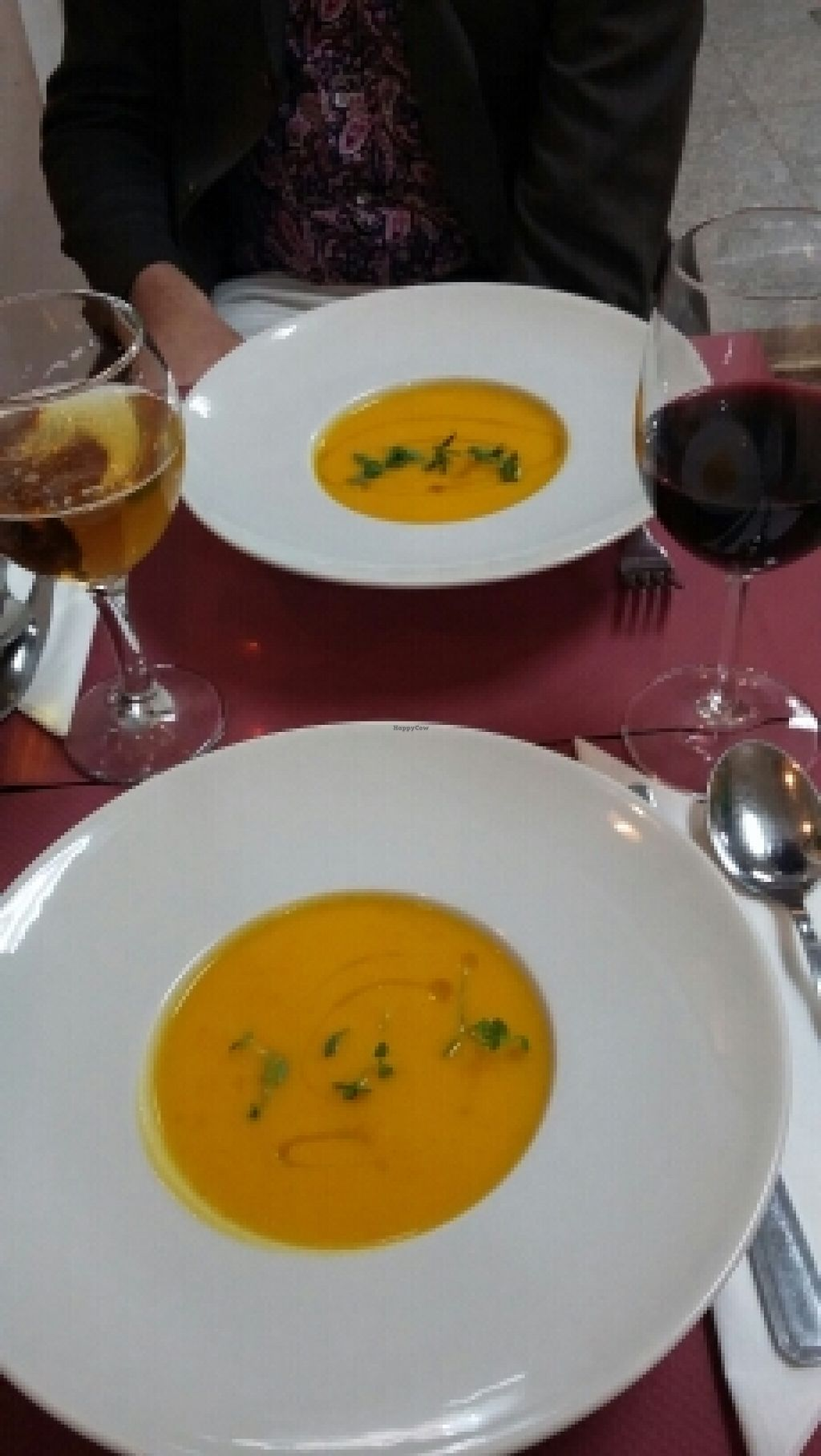 """Photo of CLOSED: Botanique  by <a href=""""/members/profile/Vegan-Vinyl-Avengers"""">Vegan-Vinyl-Avengers</a> <br/>Cream of pumpkin soup for our first course <br/> April 5, 2016  - <a href='/contact/abuse/image/58150/142863'>Report</a>"""