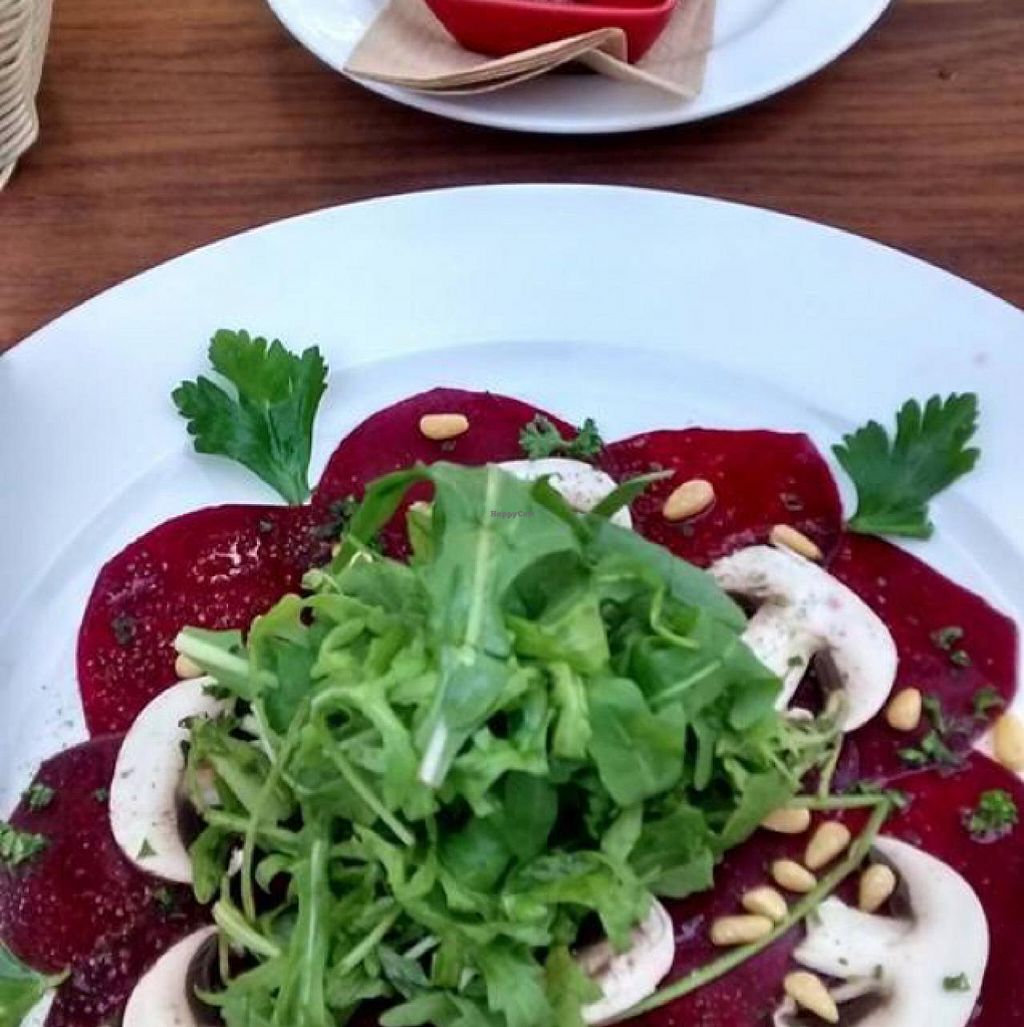 "Photo of CLOSED: Gutenberger - Das Vegane Weinlokal  by <a href=""/members/profile/ck-africa"">ck-africa</a> <br/>Beet carpaccio and bean pastry  <br/> May 7, 2015  - <a href='/contact/abuse/image/58172/101530'>Report</a>"
