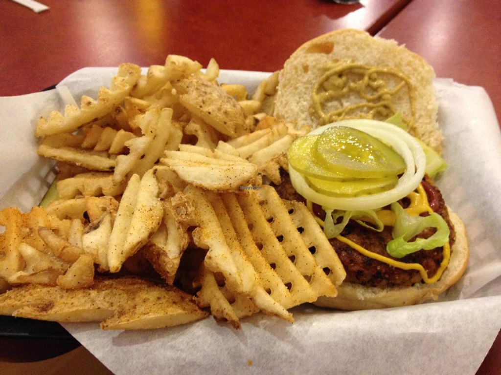 """Photo of CLOSED: Lucky's  by <a href=""""/members/profile/Tigra220"""">Tigra220</a> <br/>Vegan burger and a mixture of Cajun & Garlic waffle fries <br/> May 16, 2015  - <a href='/contact/abuse/image/58176/102417'>Report</a>"""