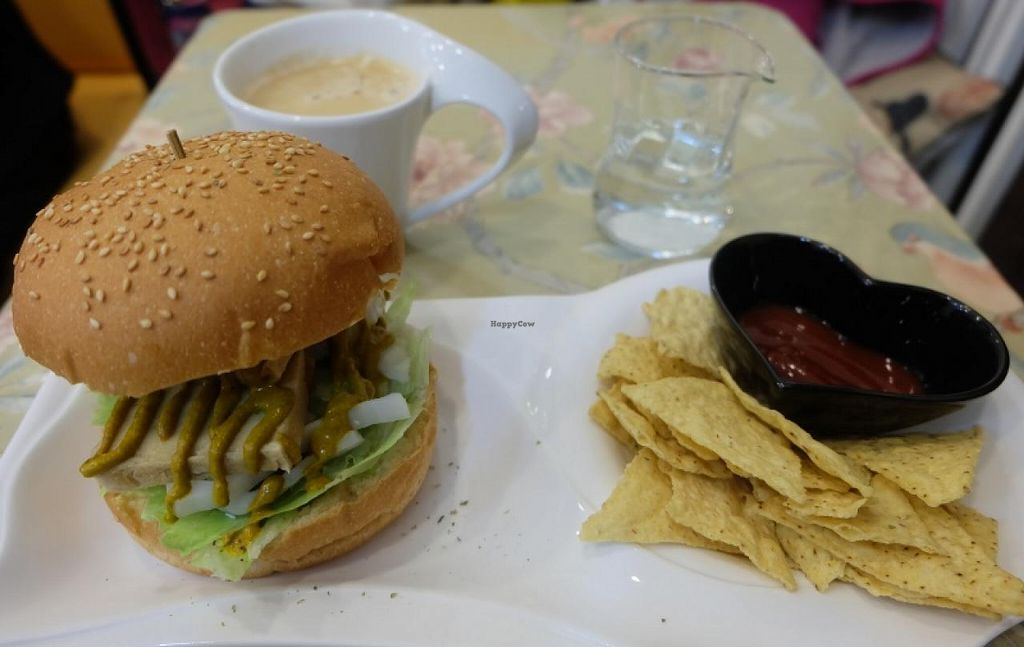 "Photo of Loving Hut - Xindian  by <a href=""/members/profile/JesseD"">JesseD</a> <br/>Burger from Green Pool Loving Hut in Xindian <br/> June 20, 2015  - <a href='/contact/abuse/image/58184/106651'>Report</a>"