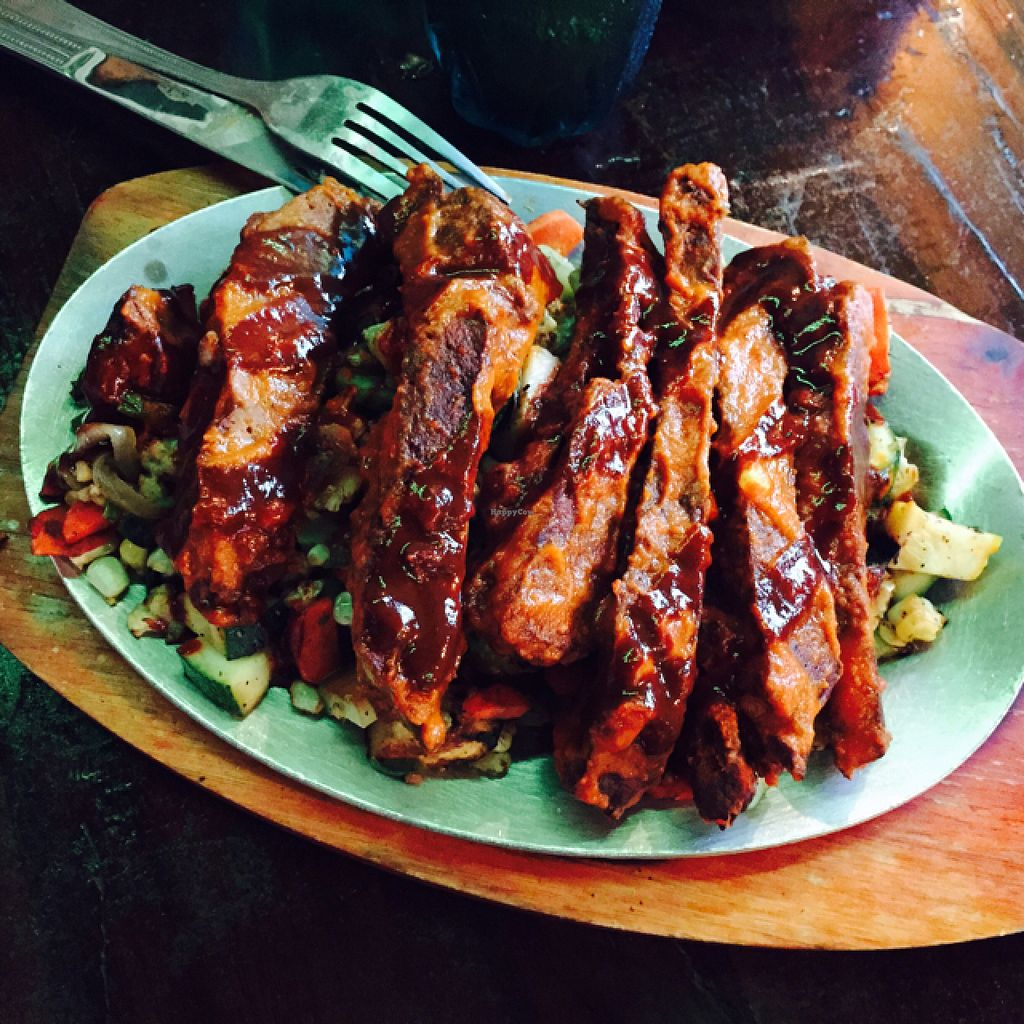 "Photo of Mexican Radio  by <a href=""/members/profile/halfthejob"">halfthejob</a> <br/>Seitan and veggies (as part of the a fajita dinner) <br/> August 4, 2015  - <a href='/contact/abuse/image/58204/112199'>Report</a>"