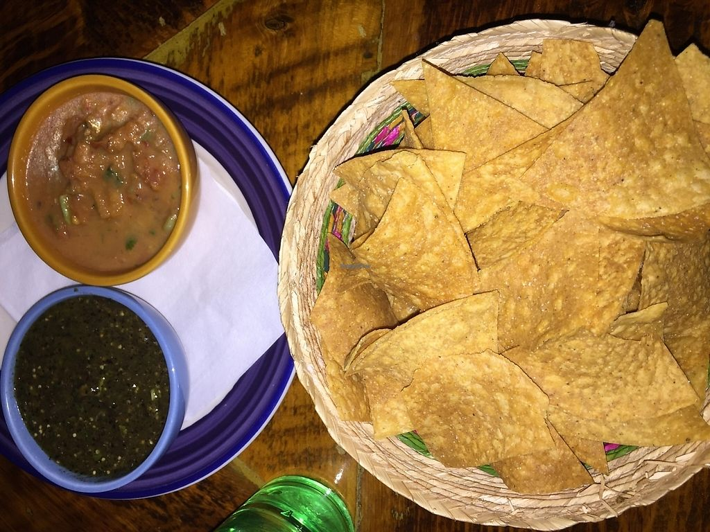 Photo of Mexican Radio  by V3ganFoodie <br/>Homemade Chips & Dos Salsa - Best bang for the buck and delicious! <br/> February 2, 2016  - <a href='/contact/abuse/image/58204/213185'>Report</a>