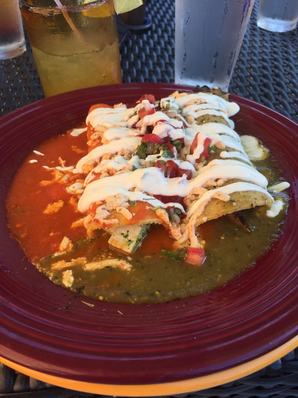 "Photo of Mexican Radio  by <a href=""/members/profile/KaitlynnGill"">KaitlynnGill</a> <br/>Tofu and wild mushroom enchiladas with red and green sauce <br/> July 6, 2017  - <a href='/contact/abuse/image/58204/277193'>Report</a>"