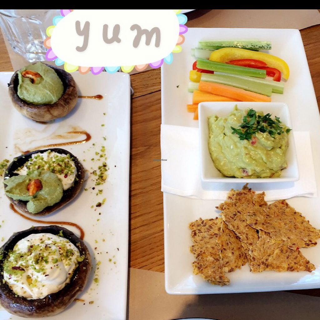 """Photo of Yi  by <a href=""""/members/profile/NicoWendler"""">NicoWendler</a> <br/>stuffed mushrooms w/ pesto and cashew cream and guacamole with crackers  <br/> July 8, 2016  - <a href='/contact/abuse/image/58217/233598'>Report</a>"""
