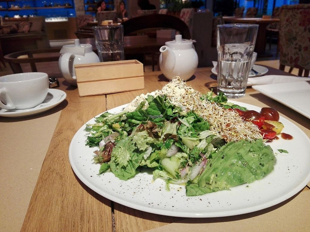 """Photo of Yi  by <a href=""""/members/profile/ElisaGR"""">ElisaGR</a> <br/>Green salad with avocado, alfalfa roots, onion, cherry tomatoes etc.  Amazing salad! <br/> April 22, 2017  - <a href='/contact/abuse/image/58217/251169'>Report</a>"""