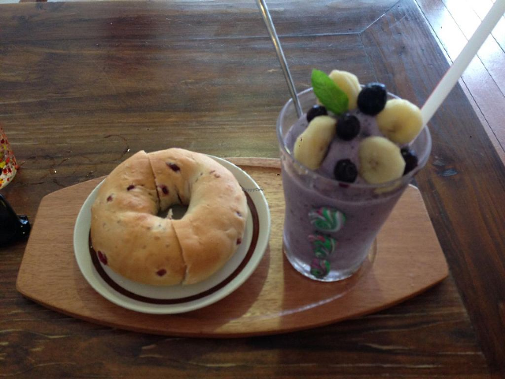 """Photo of Vita Smoothies   by <a href=""""/members/profile/Sarahmrussell"""">Sarahmrussell</a> <br/>my MYO smoothie - banana, soy and blueberries, with a cranberry bagel <br/> May 11, 2015  - <a href='/contact/abuse/image/58219/101931'>Report</a>"""