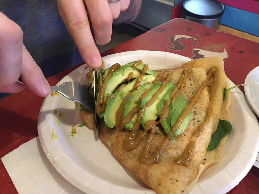 "Photo of Eldur og Is - Fire and Ice  by <a href=""/members/profile/AnniR"">AnniR</a> <br/>Vegan savoury crepe (filling: mushroom, spinach, vegan cheese, pesto & hummus, topped with avocado)  <br/> January 17, 2018  - <a href='/contact/abuse/image/58227/347589'>Report</a>"