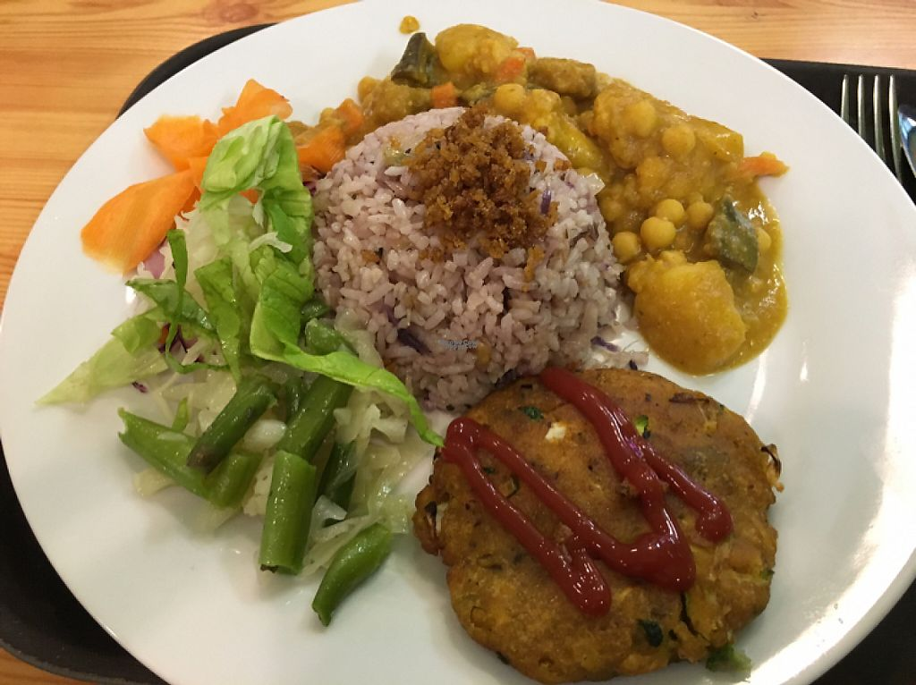 "Photo of Mennyorszag Szive  by <a href=""/members/profile/Jess13"">Jess13</a> <br/>medium sized daily meal with soy pattie, rice and a mild veggie curry <br/> March 10, 2017  - <a href='/contact/abuse/image/58231/234861'>Report</a>"