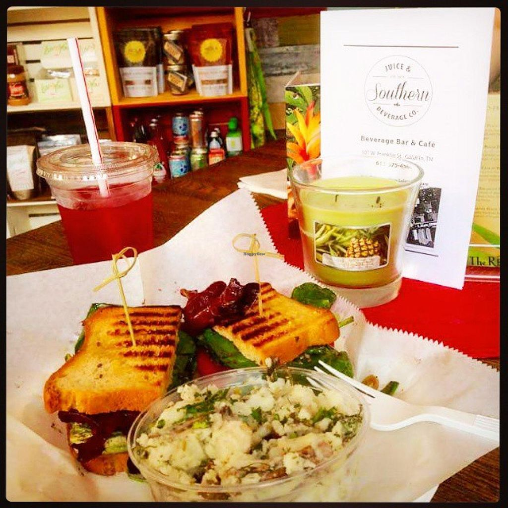 "Photo of Southern Juice and Beverage Co.  by <a href=""/members/profile/JuiceSouthern"">JuiceSouthern</a> <br/>Herbed Tofu Panini on GF Bread with a side of Smashed Potato Salad. (picture compliments of an awesome customer) <br/> May 11, 2015  - <a href='/contact/abuse/image/58243/101935'>Report</a>"