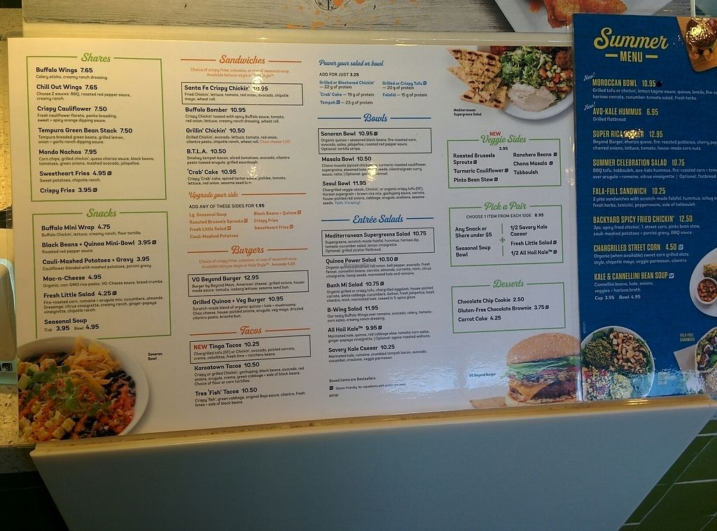 """Photo of Veggie Grill - Westgate Shopping Center  by <a href=""""/members/profile/MizzB"""">MizzB</a> <br/>menu <br/> August 11, 2017  - <a href='/contact/abuse/image/58253/291403'>Report</a>"""