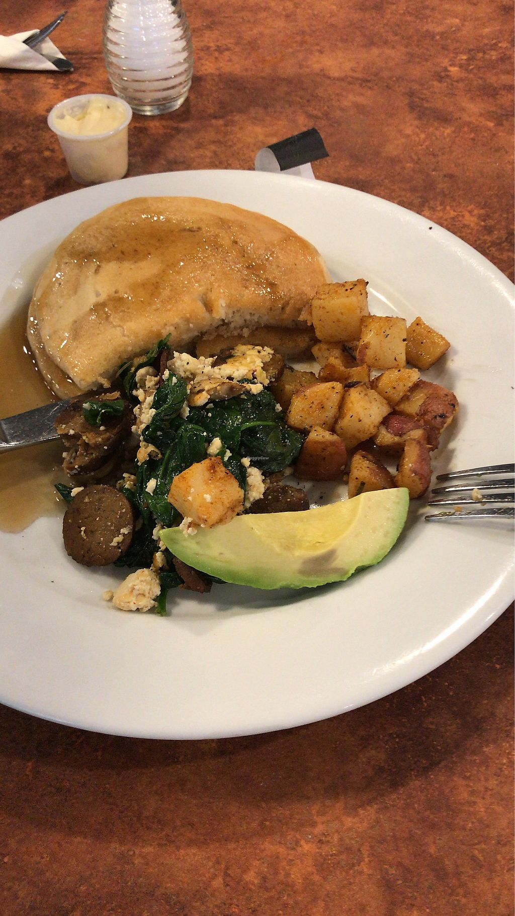 "Photo of Maywood Pancake House  by <a href=""/members/profile/Lucipurrr"">Lucipurrr</a> <br/>Vegan pancakes & Vegan tofu scramble called Popeye with vegan sausage <br/> April 15, 2018  - <a href='/contact/abuse/image/58273/386336'>Report</a>"
