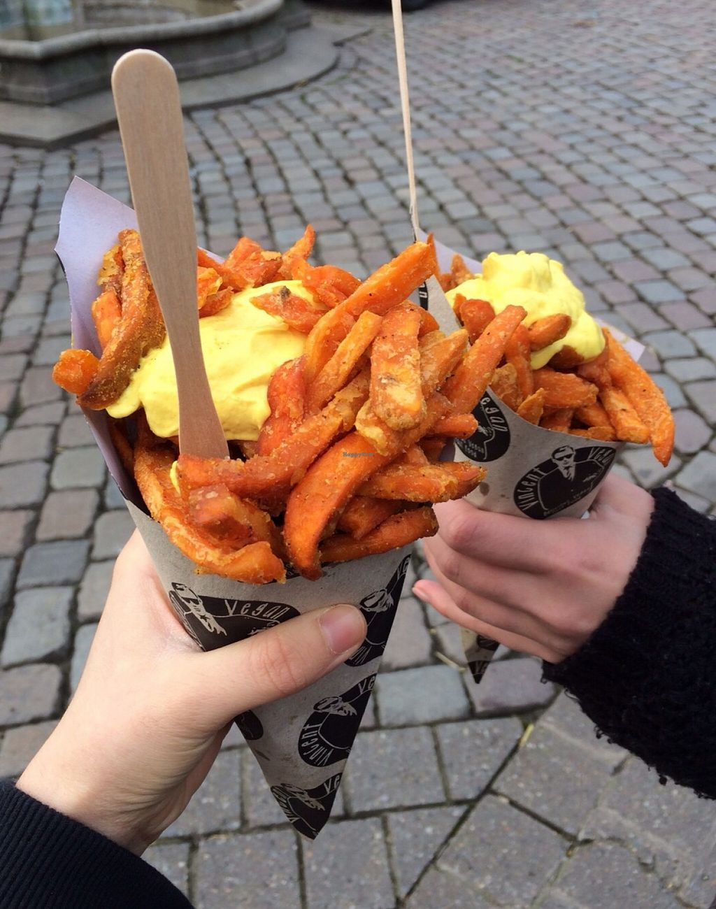 """Photo of Vincent Vegan  by <a href=""""/members/profile/Tobias%20Boletaria"""">Tobias Boletaria</a> <br/>Sweetpotato fries with garlic-turmeric-sauce <br/> December 6, 2015  - <a href='/contact/abuse/image/58276/127433'>Report</a>"""