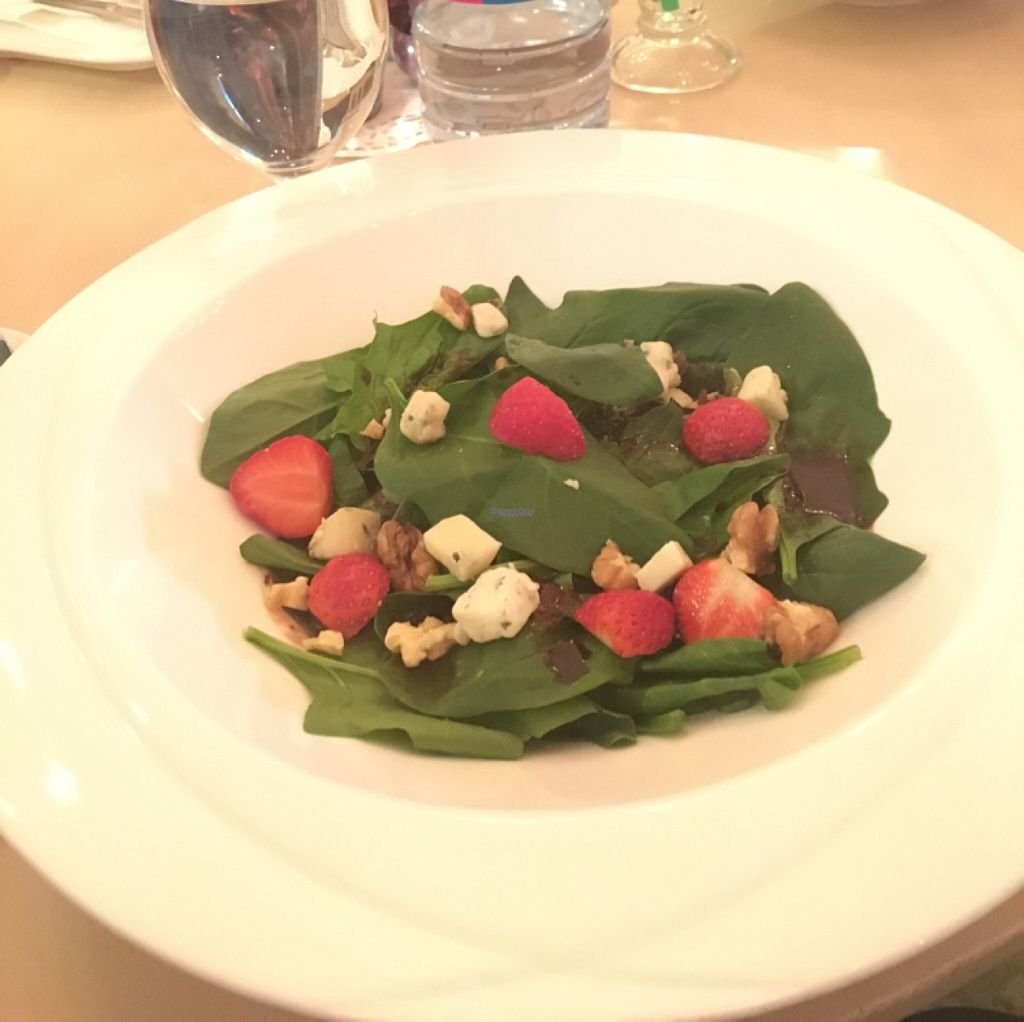 """Photo of Pure Vegetarian Cuisine  by <a href=""""/members/profile/HolgerRaulfs"""">HolgerRaulfs</a> <br/>Spinach salad <br/> November 5, 2016  - <a href='/contact/abuse/image/58341/186691'>Report</a>"""