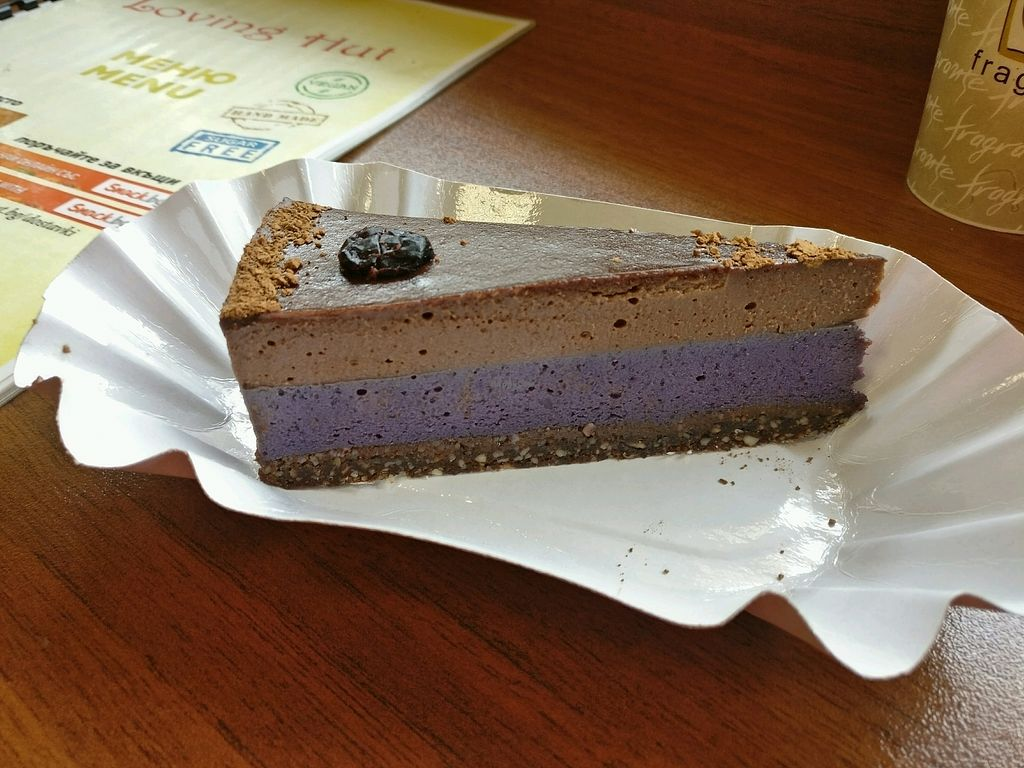 "Photo of Loving Hut  by <a href=""/members/profile/Meaks"">Meaks</a> <br/>Blueberry and chocolate cake <br/> October 14, 2017  - <a href='/contact/abuse/image/58349/315211'>Report</a>"