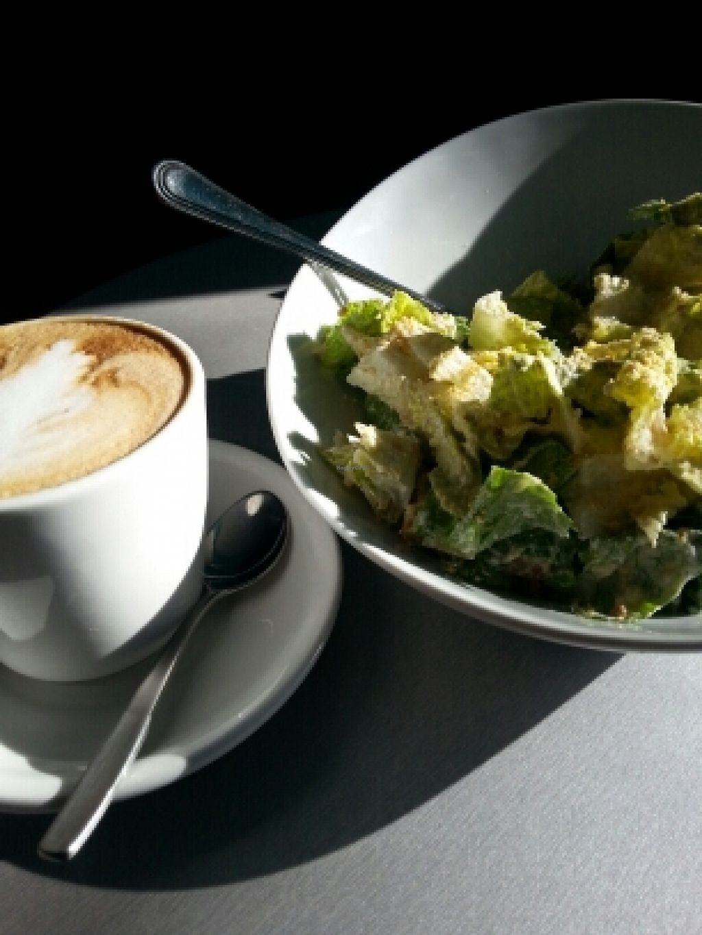 """Photo of CLOSED: Venosa Cafe  by <a href=""""/members/profile/Sunshine2366"""">Sunshine2366</a> <br/>Caesar salad and Almond milk latte...yummy! <br/> January 21, 2016  - <a href='/contact/abuse/image/58382/133237'>Report</a>"""