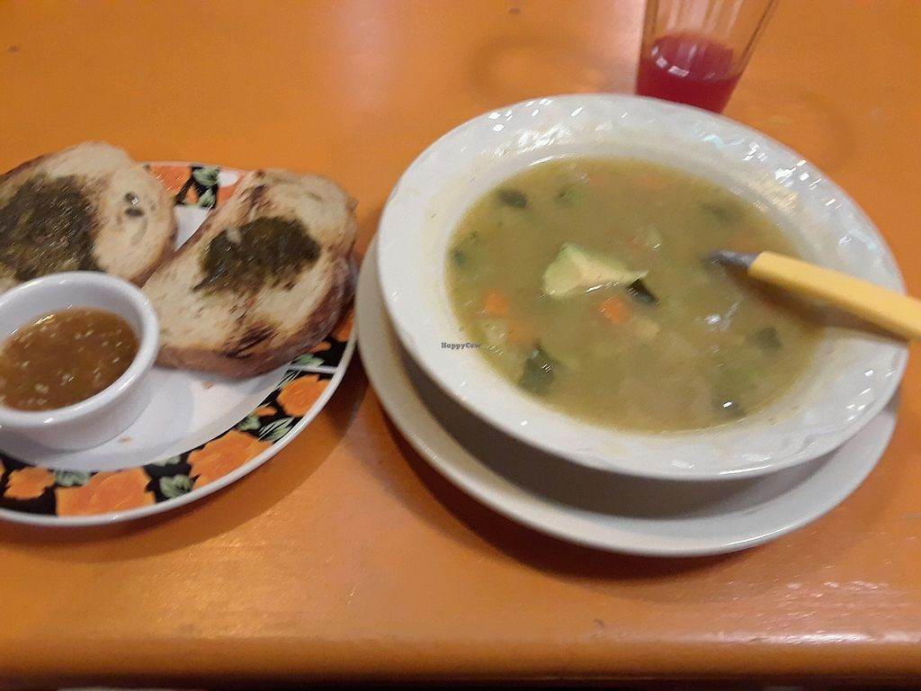 """Photo of Delicias Naturales  by <a href=""""/members/profile/Yona"""">Yona</a> <br/>ginger turmeric soup with verges and yummy pesto bread <br/> December 7, 2017  - <a href='/contact/abuse/image/58417/333254'>Report</a>"""