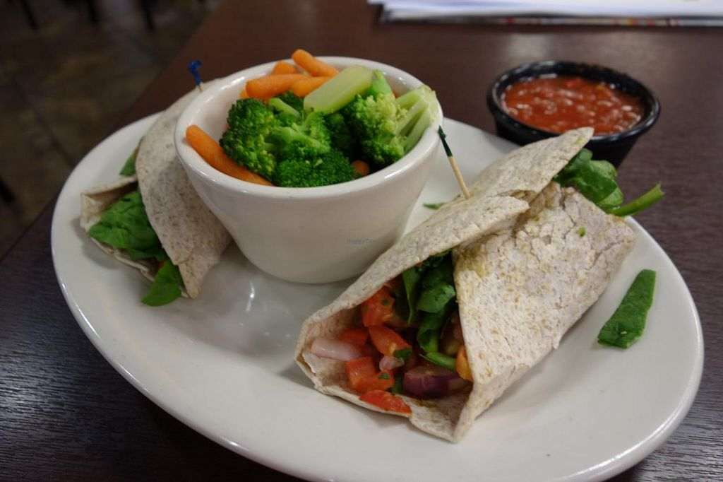 """Photo of Jason's Deli  by <a href=""""/members/profile/Gudrun"""">Gudrun</a> <br/>Vegan wrap + steamed veggies <br/> May 16, 2015  - <a href='/contact/abuse/image/58455/102390'>Report</a>"""