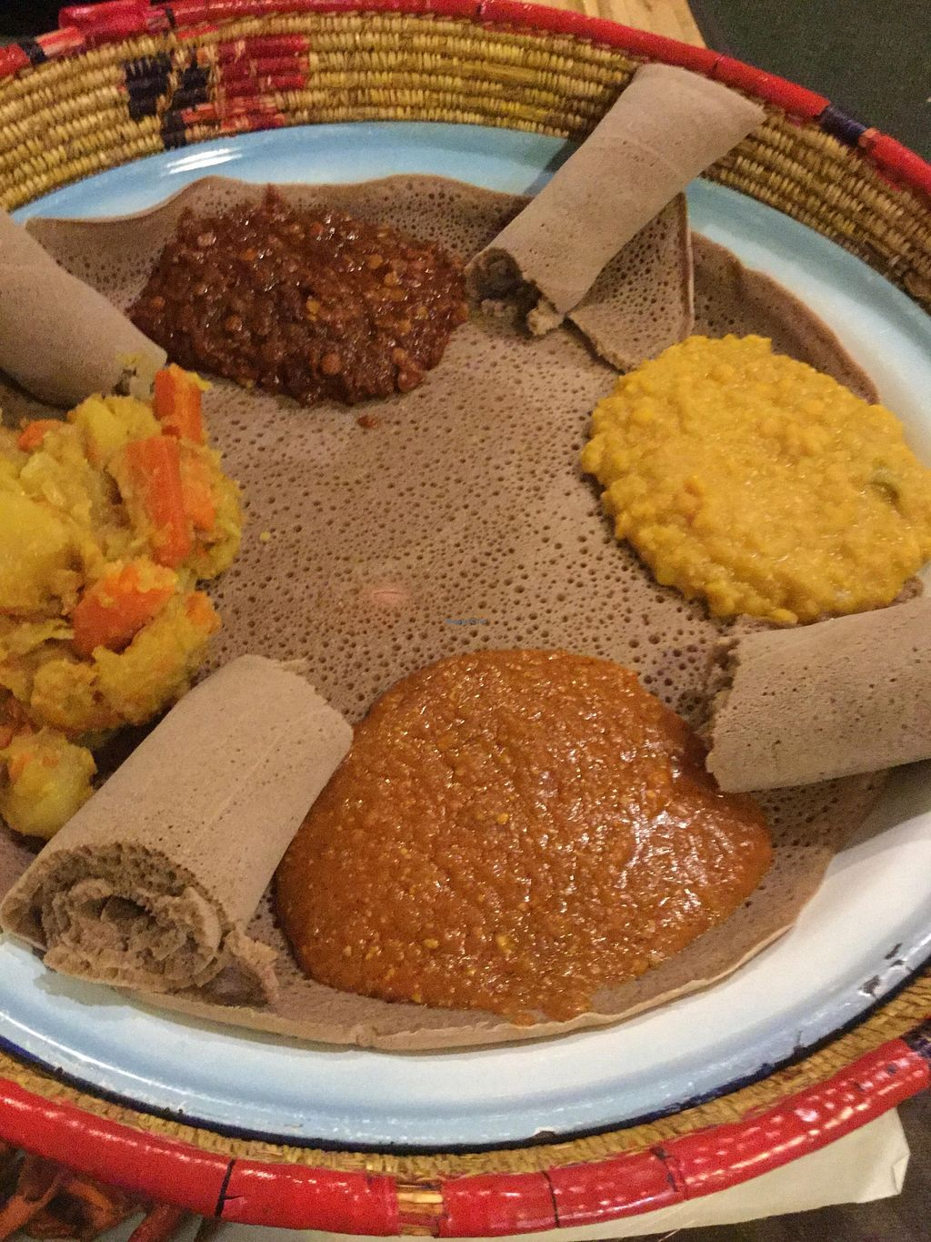 """Photo of Queen of Sheba  by <a href=""""/members/profile/J%20and%20J"""">J and J</a> <br/>Vegetarian combo platter: all vegan <br/> January 29, 2016  - <a href='/contact/abuse/image/58460/134144'>Report</a>"""