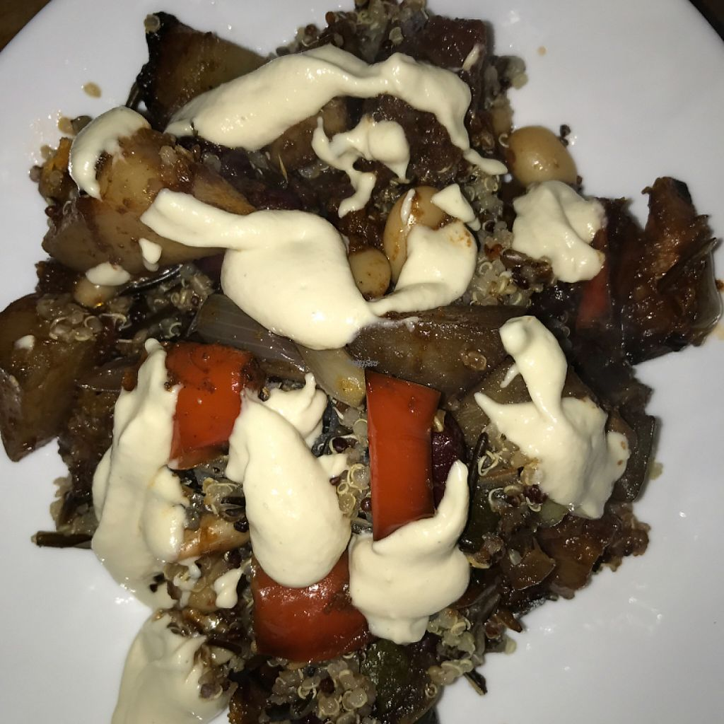 """Photo of The Health Workshop  by <a href=""""/members/profile/Aliblue"""">Aliblue</a> <br/>roasted veggies on wild rice and quinoa topped with vegan cream cheese!  <br/> November 17, 2016  - <a href='/contact/abuse/image/58473/191463'>Report</a>"""