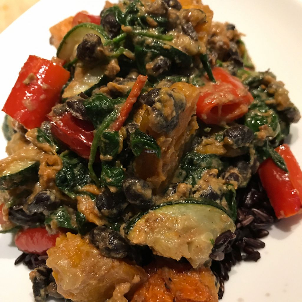 """Photo of The Health Workshop  by <a href=""""/members/profile/Aliblue"""">Aliblue</a> <br/>Vegan roasted veggies with black beans and spinach in spicy sauce on a bed of black rice ? <br/> November 22, 2016  - <a href='/contact/abuse/image/58473/193247'>Report</a>"""