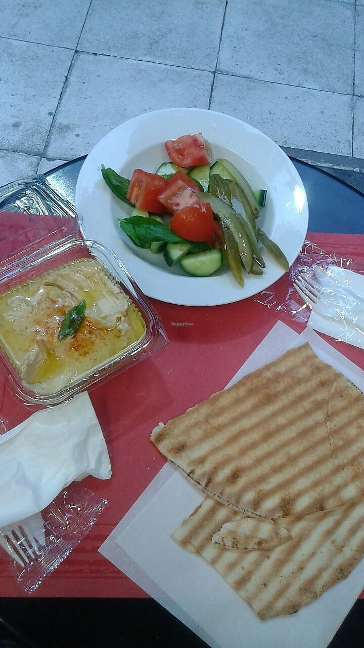 "Photo of Enjoy Just Falafel   by <a href=""/members/profile/EsterdelaFuente"">EsterdelaFuente</a> <br/>Hummus with salad and pita bread <br/> April 21, 2018  - <a href='/contact/abuse/image/58480/388913'>Report</a>"