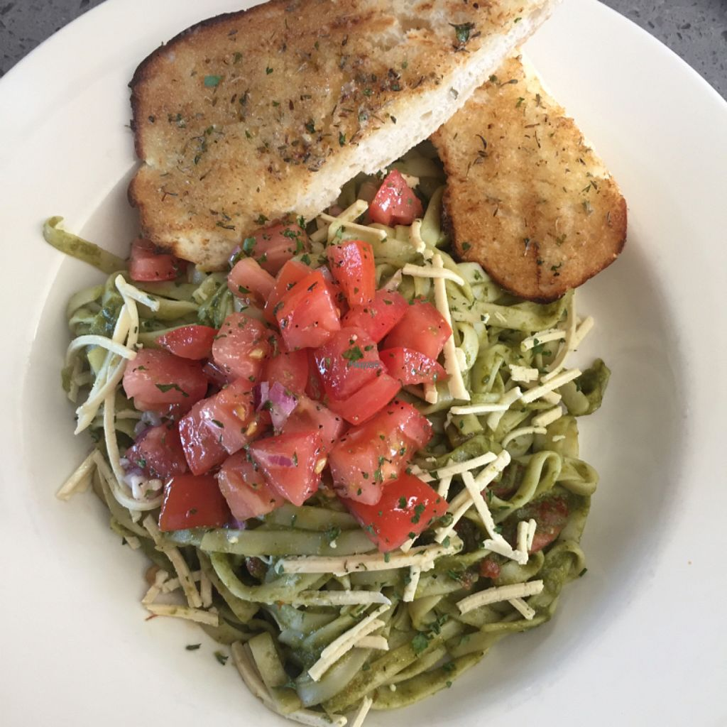 "Photo of GNJ Vegetarian Bistro  by <a href=""/members/profile/TLC%20Veg."">TLC Veg.</a> <br/>veganized fettuccine pesto!! so good.. garlic toast was amazing:) <br/> August 19, 2016  - <a href='/contact/abuse/image/58518/170147'>Report</a>"