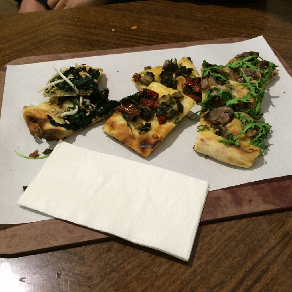 "Photo of Unter Freunden  by <a href=""/members/profile/Plantpower"">Plantpower</a> <br/>small samples of 3 of the 5 different vegan pizzas they had last time I was there. (you can pick the size, they'll cut it) <br/> January 30, 2016  - <a href='/contact/abuse/image/58535/134266'>Report</a>"